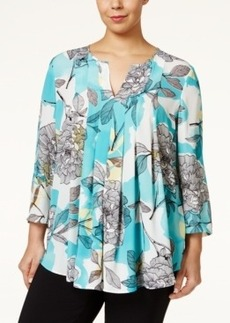 Alfani Plus Size Printed Pleated Blouse, Only at Macy's