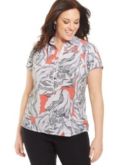 Alfani Plus Size Printed Polo Shirt