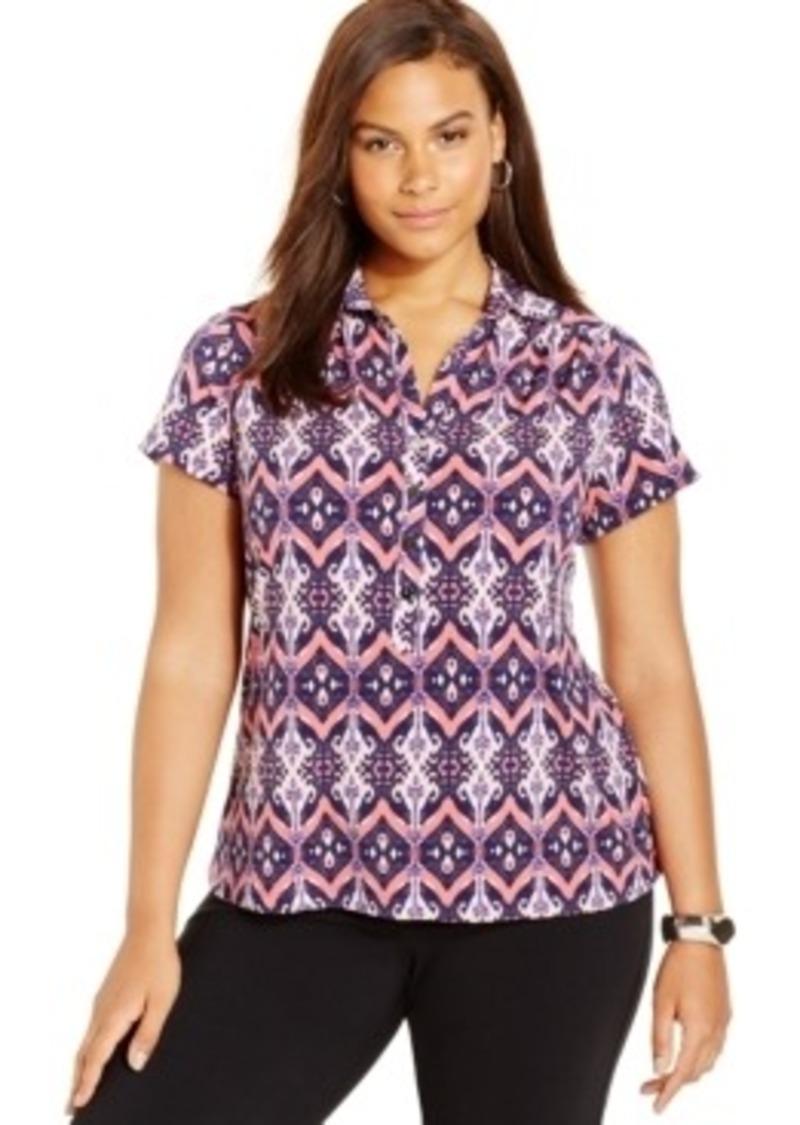 Alfani alfani plus size printed polo shirt casual shirts for Plus size golf polo shirts