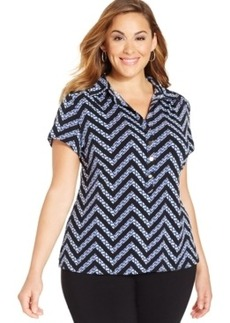 Alfani Plus Size Printed Polo Top