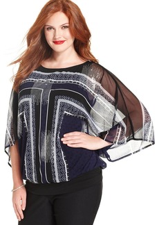 Alfani Plus Size Printed Sequined Blouson Top