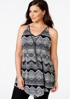 Alfani Plus Size Printed Sleeveless Necklace Top, Only at Macy's
