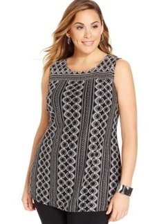 Alfani Plus Size Printed Sleeveless Top