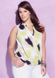 Alfani Plus Size Printed Surplice Blouse