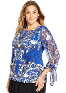 Alfani Plus Size Printed Tied-Cuff Top