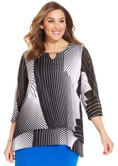 Alfani Plus Size Printed Tiered Keyhole Top
