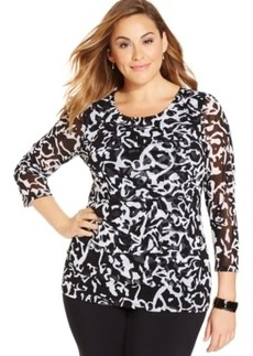 Alfani Plus Size Printed Tiered Top