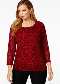 Alfani Plus Size Printed Tiered Top, Only at Macy's