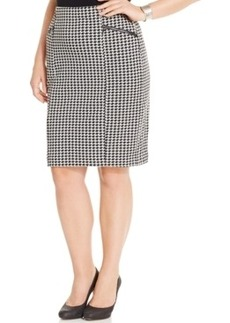 Alfani Plus Size Pull-On Houndstooth Pencil Skirt, Only at Macy's