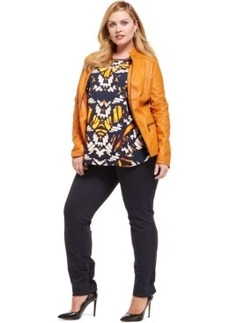 Alfani Plus Size Quilt-Detailed Faux-Leather Moto Jacket, Only at Macy's