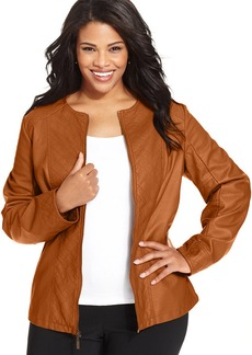 Alfani Plus Size Quilted Faux-Leather Jacket