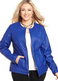 Alfani Plus Size Quilted Faux-Leather Jacket