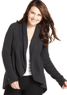 Alfani Plus Size Ribbed-Knit Open-Front Cardigan