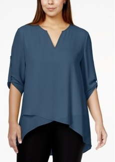 Alfani Plus Size Roll-Tab Layered-Hem Top, Only at Macy's