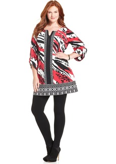 Alfani Plus Size Roll-Tab-Sleeve Printed Tunic