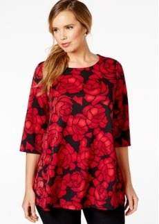 Alfani Plus Size Rose-Print Scuba Top, Only at Macy's