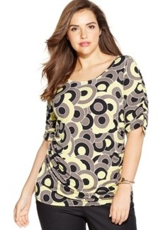 Alfani Plus Size Ruched-Sleeve Printed Top