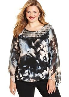 Alfani Plus Size Sequined Floral-Print Blouson Top