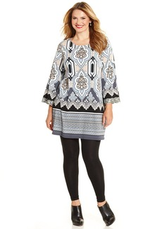 Alfani Plus Size Sequined Ikat-Print Tunic