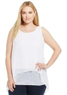 Alfani Plus Size Sequined Tiered Top