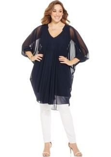 Alfani Plus Size Sheer Draped Tunic Top