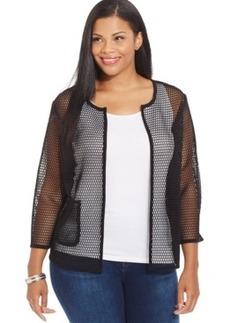 Alfani Plus Size Sheer Mesh Jacket
