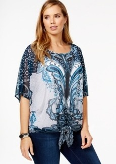 Alfani Plus Size Sheer Printed Tie-Front Blouse, Only at Macy's