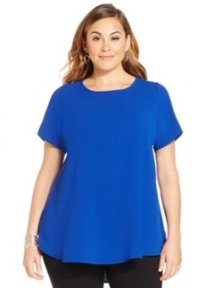 Alfani Plus Size Short-Sleeve High-Low Top