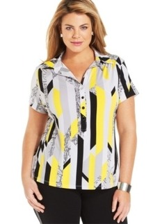 Alfani Plus Size Short-Sleeve Printed Polo Shirt