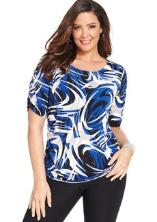 Alfani Plus Size Short-Sleeve Printed Ruched Top