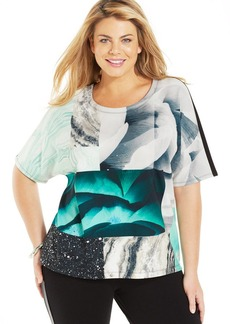 Alfani Plus Size Short-Sleeve Printed Scuba Top