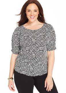 Alfani Plus Size Short-Sleeve Printed Top