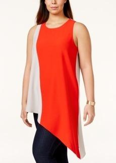 Alfani Plus Size Sleeveless Asymmetrical Colorblocked Blouse, Only at Macy's