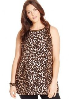Alfani Plus Size Sleeveless Beaded Animal-Print Top