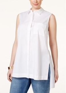 Alfani Plus Size Sleeveless Button-Front Shirt, Only at Macy's