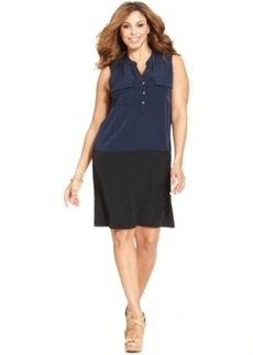 Alfani Plus Size Sleeveless Colorblocked Dress