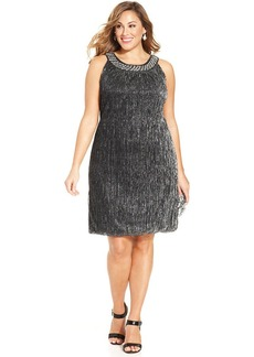 Alfani Plus Size Sleeveless Embellished-Neck Metallic Dress