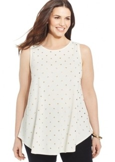 Alfani Plus Size Sleeveless Embellished Top