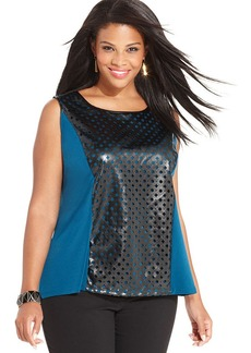Alfani Plus Size Sleeveless Faux-Leather Laser-Cut Top