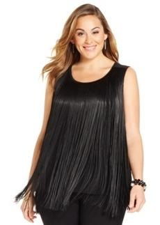 Alfani Plus Size Sleeveless Fringed Top