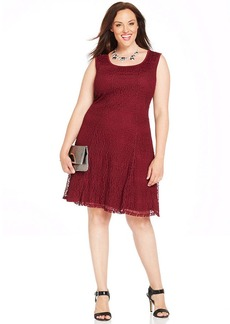 Alfani Plus Size Sleeveless Lace A-Line Dress