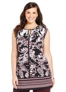 Alfani Plus Size Sleeveless Printed Keyhole Tunic