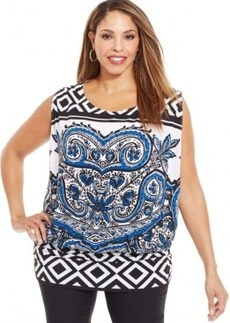 Alfani Plus Size Sleeveless Printed Top