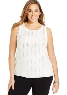 Alfani Plus Size Sleeveless Rhinestone Top