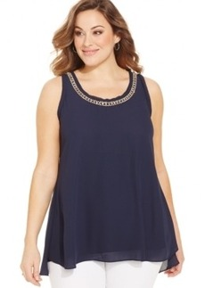 Alfani Plus Size Sleeveless Rhinestone-Trim Top
