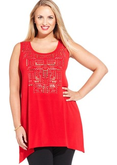 Alfani Plus Size Sleeveless Scoop-Neck Studded Top