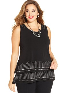 Alfani Plus Size Sleeveless Sequined Tiered Top