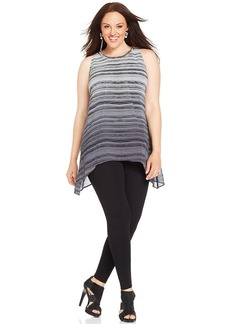 Alfani Plus Size Sleeveless Striped Beaded Tunic