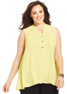 Alfani Plus Size Sleeveless Utility Blouse