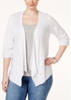 Alfani Plus Size Slub-Linen Short Cardigan, Only at Macy's